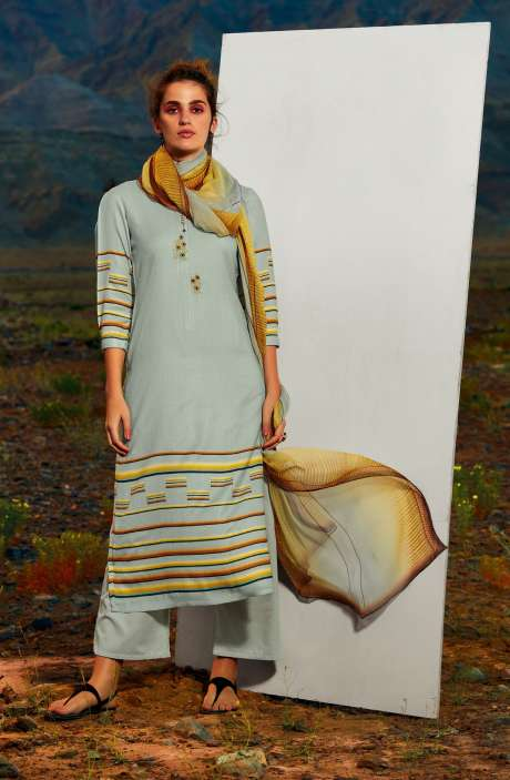 Pashmina Dobby Printed Unstitched Salwar Kameez In Sea Green with Embroidery - ALL8117