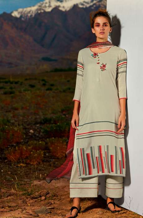 Pashmina Dobby Printed Unstitched Salwar Suit In Fawn with Embroidery - ALL8118