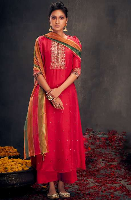 Valentine's Day Special Silk Designer Zari and Sequins Work Salwar Suit Sets In Coral - ALO2141
