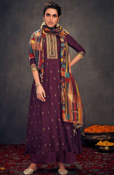 Silk Designer Zari and Sequins Work Salwar Suit Sets In Purple - ALO2142