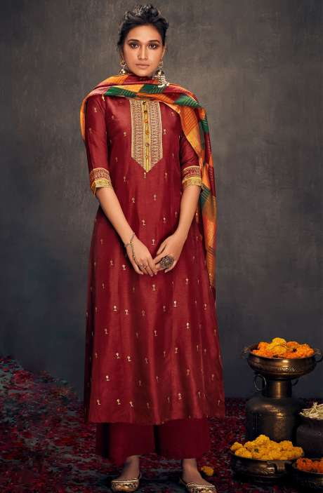 Silk Designer Zari and Sequins Work Salwar Suit Sets In Maroon - ALO2143