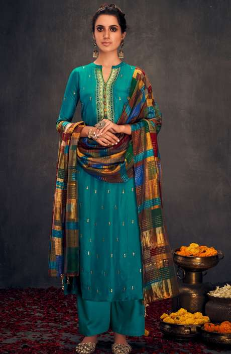 Silk Designer Zari and Sequins Work Salwar Suit Sets In Firozi - ALO2144
