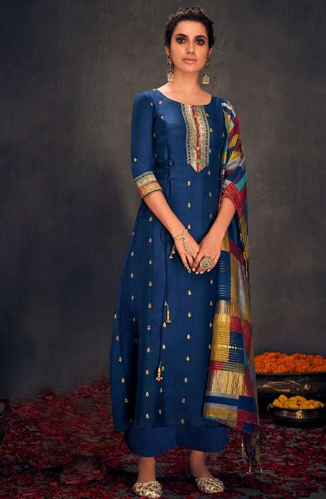 Silk Designer Zari and Sequins Work Salwar Suit Sets In Blue - ALO2145