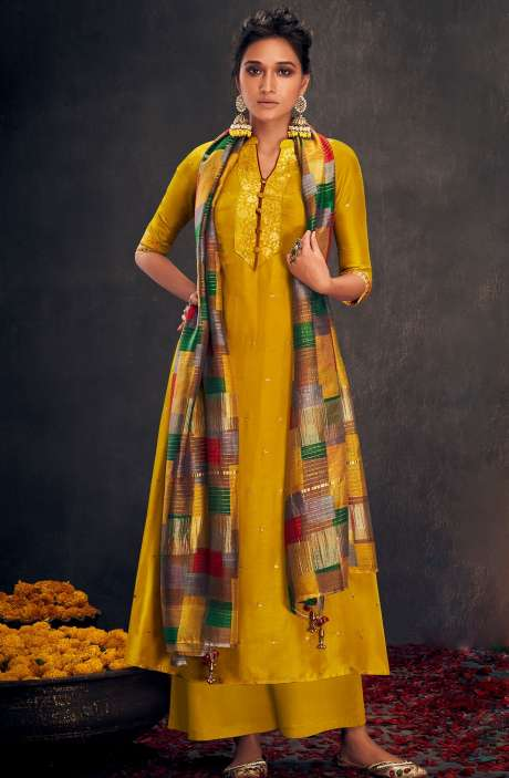 Silk Designer Zari and Sequins Work Salwar Suit Sets In Mustard Yellow - ALO2146
