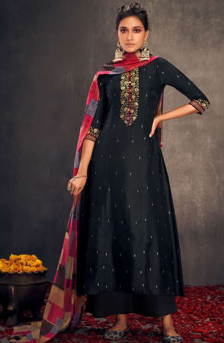 Silk Designer Zari and Sequins Work Salwar Suit Sets In Black - ALO2148