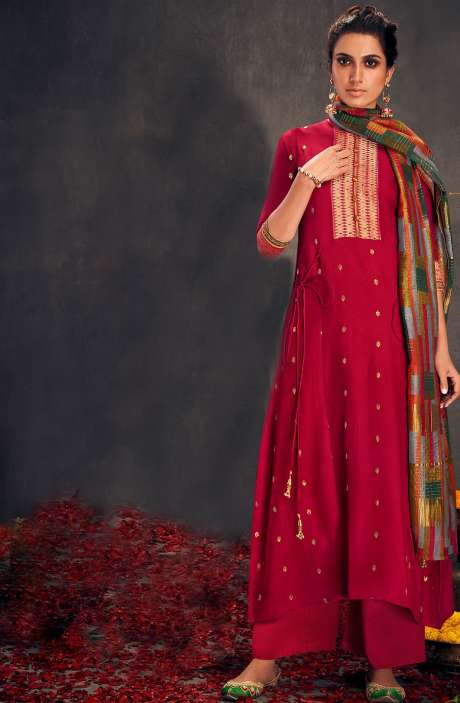 Valentine's Day Special Silk Designer Zari and Sequins Work Salwar Suit Sets In Rose Red - ALO2149