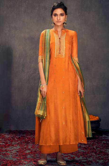 Silk Designer Zari and Sequins Work Salwar Suit Sets In Orange - ALO2151