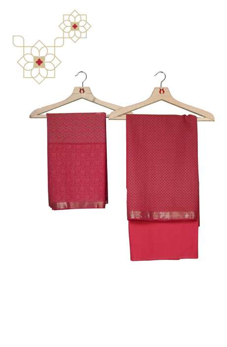 Chanderi Cotton Digital Printed Salwar Kameez In Pink - AMARKALI-C
