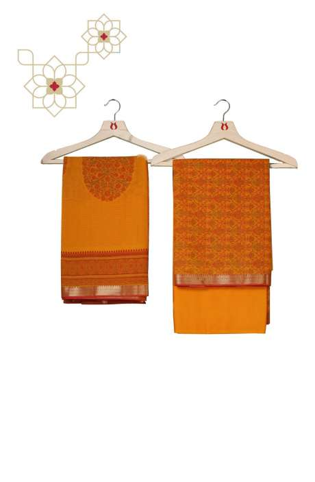 Chanderi Cotton Digital Printed Salwar Kameez In Mustard Yellow - AMARKALI2-A