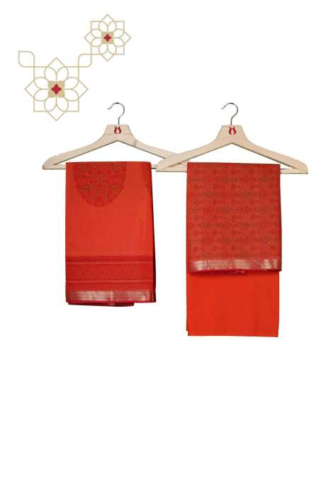 Chanderi Cotton Digital Printed Salwar Kameez In Orange - AMARKALI2-B
