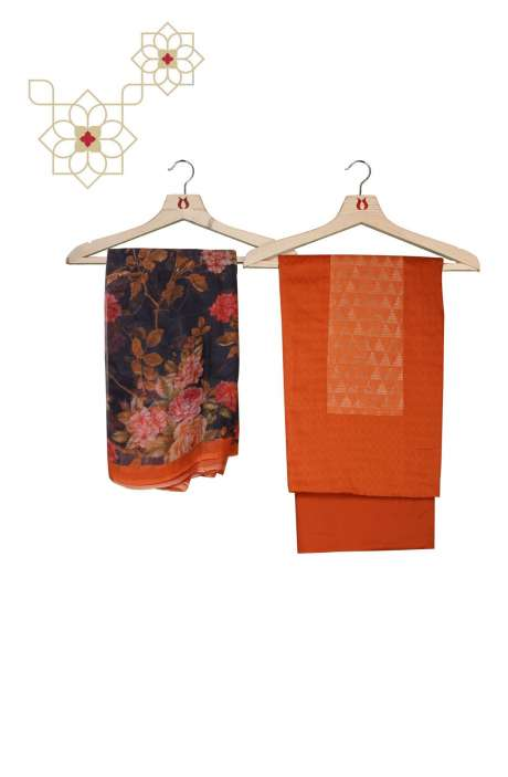 Cotton Beautiful Weaving Work Orange Salwar Kameez with Chiffon Dupatta - AMB342