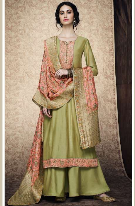 Designer Festive Collection Silk Satin Mehndi Green Salwar Kameez with Banarasi Jacquard Dupatta - AMB7627R