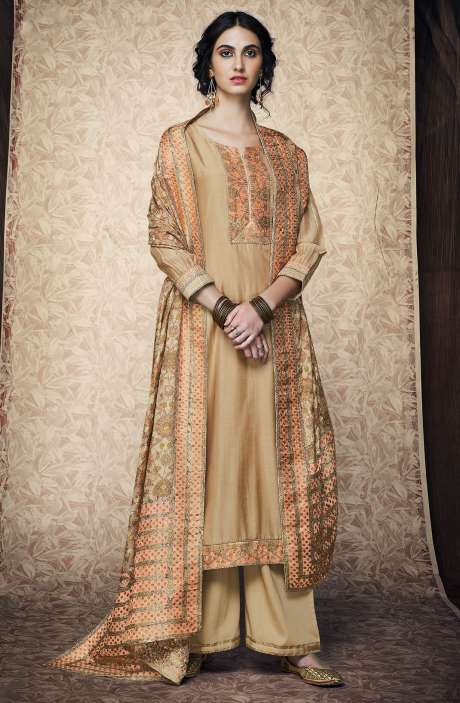 Designer Festive Collection Silk Satin Beige Salwar Kameez with Banarasi Jacquard Dupatta - AMB7630R