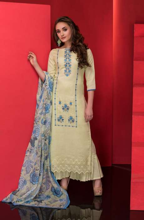 Beautiful Machine Embroidery with Cut Work Cotton Suit Sets In Lime Green - AMO2222