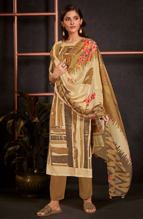 Monga Silk Digital Printed Salwar Kameez In Multi & Brown with Muslin Silk Dupatta - AMO5241