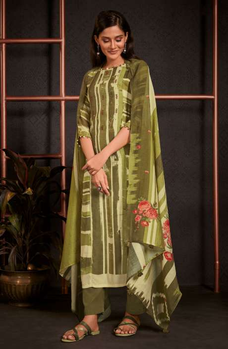 Monga Silk Digital Printed Salwar Kameez In Multi & Mehndi with Muslin Silk Dupatta - AMO5244