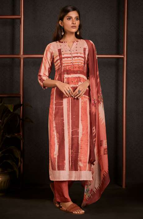 Moonga Silk Digital Printed Salwar Kameez In Multi & Rust with Muslin Silk Dupatta - AMO5248