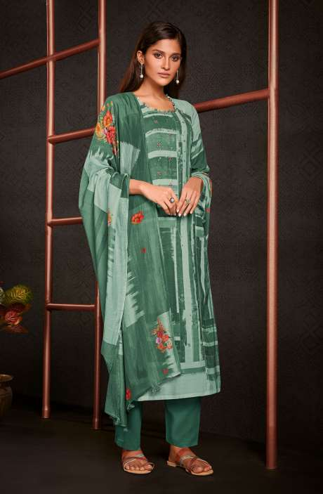 Moonga Silk Digital Printed Salwar Kameez In Multi & Bottle Green with Muslin Silk Dupatta - AMO5249