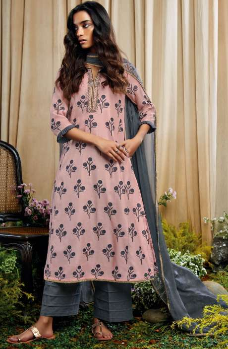 Beautiful Print with Embellished Work Cotton Silk Salwar Suit with Chiffon Dupatta In Baby Pink and Grey - AMO7128
