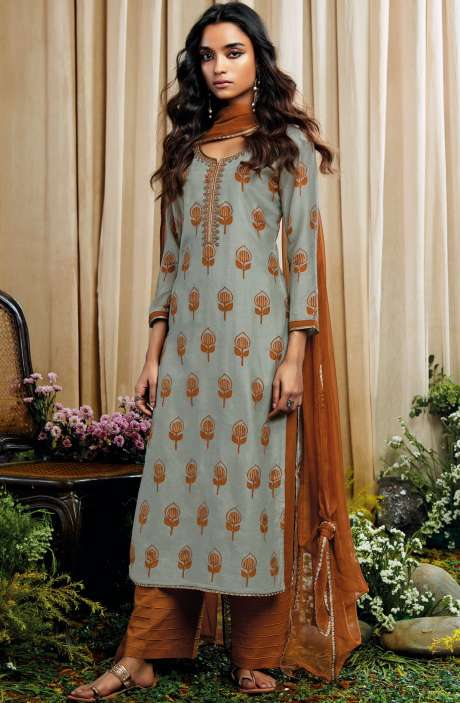 Beautiful Print with Embellished Work Cotton Silk Salwar Suit with Chiffon Dupatta In Light Green and Rust - AMO7129