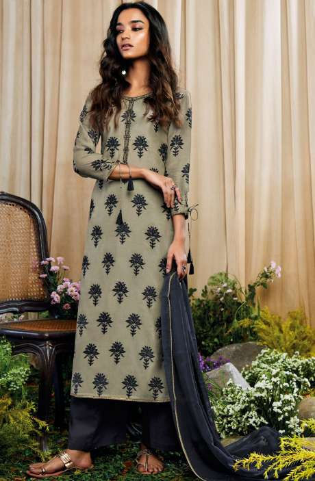 Beautiful Print with Embellished Work Cotton Silk Salwar Suit with Chiffon Dupatta In Light Green and Black - AMO7130