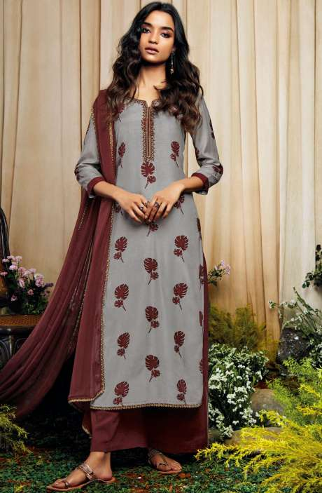 Beautiful Print with Embellished Work Cotton Silk Salwar Suit with Chiffon Dupatta In Grey and Maroon - AMO7131
