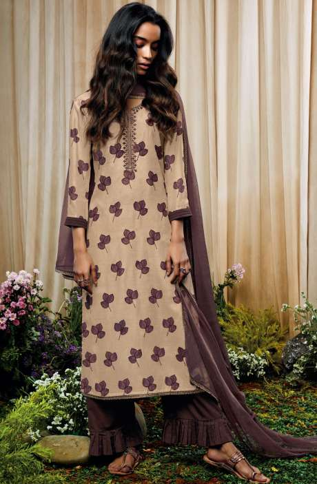 Beautiful Print with Embellished Work Cotton Silk Salwar Suit with Chiffon Dupatta In Beige and Brown - AMO7133