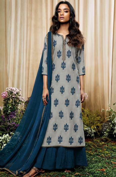 Beautiful Print with Embellished Work Cotton Silk Salwar Suit with Chiffon Dupatta In Grey and Blue - AMO7135