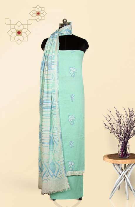 Cotton Salwar Suit Set In Turquoise - AND2636