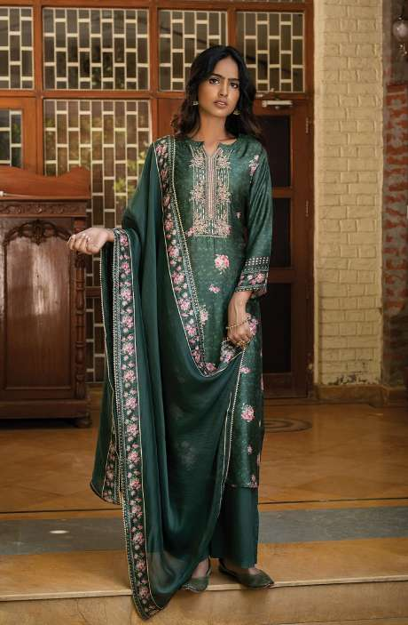 Silk Digital Printed Salwar Suit Set In Bottle Green with Organza Dupatta - ANJ8161