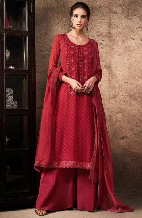 Beautiful Red Digital Print with Embellished Georgette Salwar Kameez with Chanderi Silk Dupatta - ANT6901