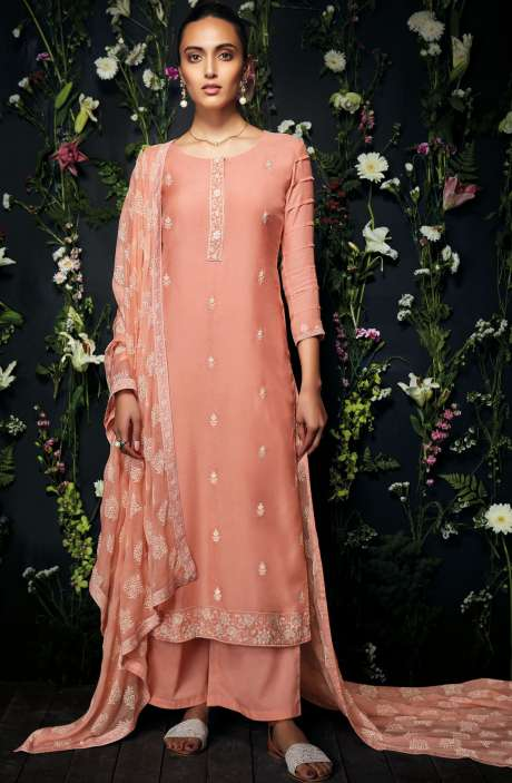 Modal Cotton Embroidered Salwar Kameez In Peach - ANT7238-R