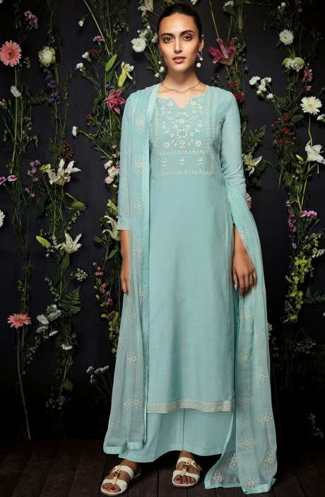 Modal Cotton Embroidered Salwar Kameez In Pastel Green - ANT7239-R