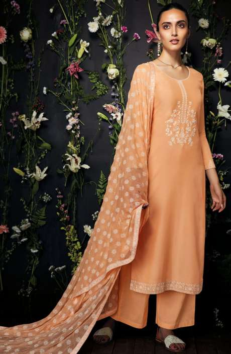 Modal Cotton Embroidered Salwar Kameez In Orange - ANT7240-R