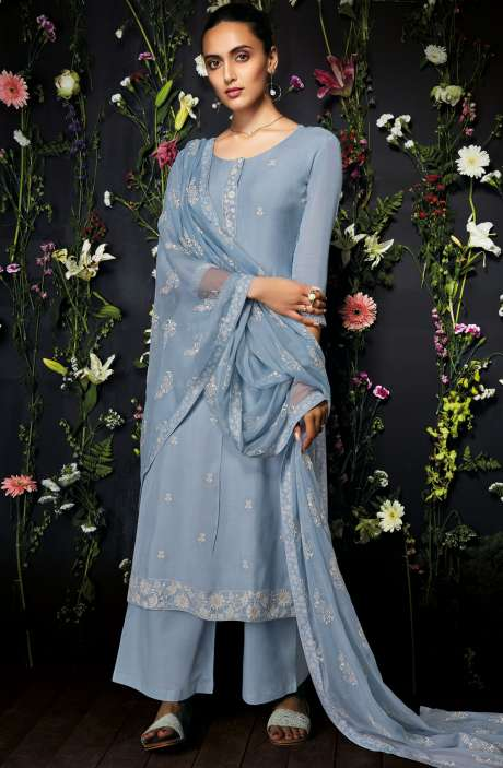 Modal Cotton Embroidered Salwar Kameez In Light Grey - ANT7241-R