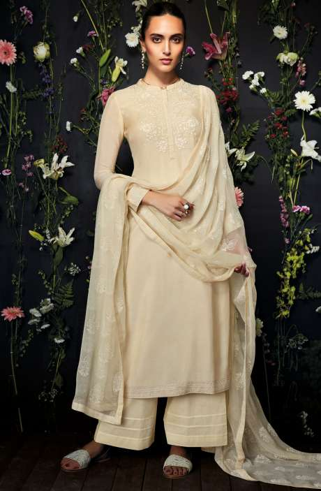 Modal Cotton Embroidered Salwar Kameez In Cream - ANT7242-R