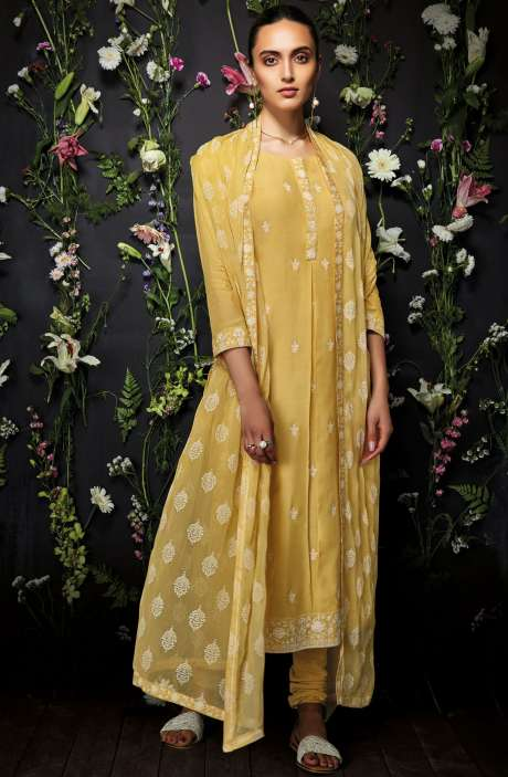 Embroidered Cotton Salwar Kameez In Mustard Yellow - ANT7243R