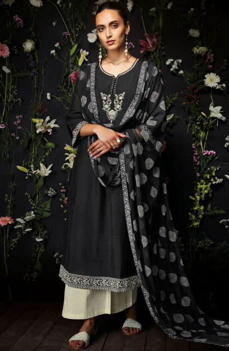 Modal Cotton Embroidered Salwar Kameez In Black & Cream - ANT7244-R