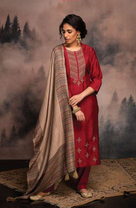 Pure Pashmina Exclusive Winter Salwar Suit In Maroon with Beautiful Dupatta - ANV8483