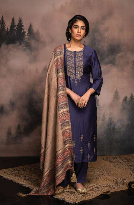 Pure Pashmina Exclusive Winter Salwar Suit In Blue with Beautiful Dupatta - ANV8484
