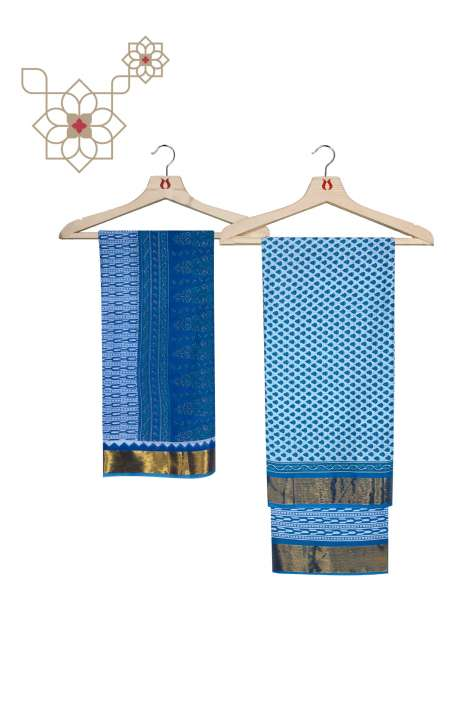 Cotton Printed Salwar Kameez In Blue - ARADHNA-1C