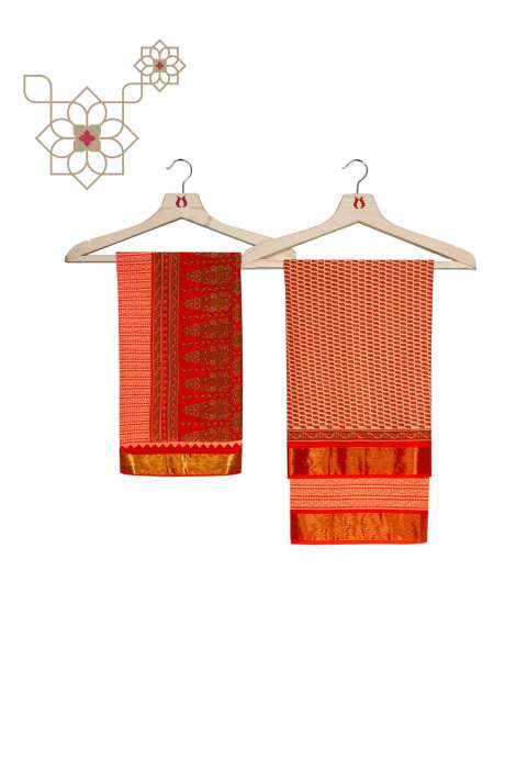 Cotton Printed Salwar Kameez In Orange - ARADHNA3-2C