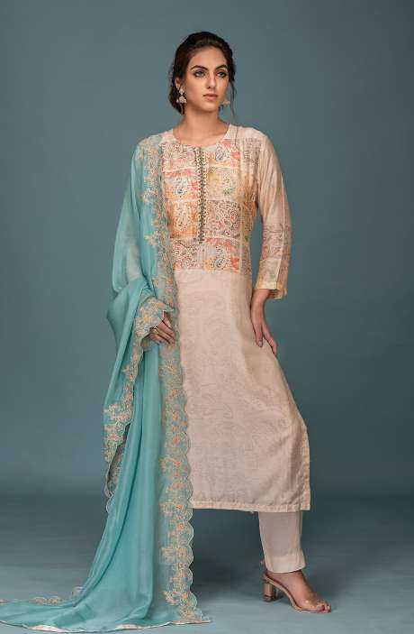 Semi-stitched Exclusive Muslin Silk Stylish Salwar Suit Set In Cream & Multi - ARE8610A