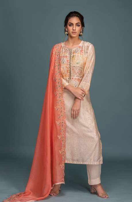 Semi-stitched Exclusive Muslin Silk Stylish Salwar Suit Set In Cream & Multi - ARE8610B