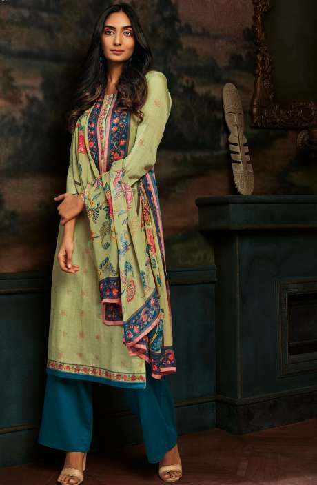 Modal Cotton Printed Stripes Unstitched Salwar Kameez In Lime Green & Blue - ASA099