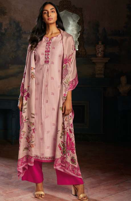 Modal Cotton Printed Stripes Unstitched Salwar Kameez In Peach & Pink - ASA102