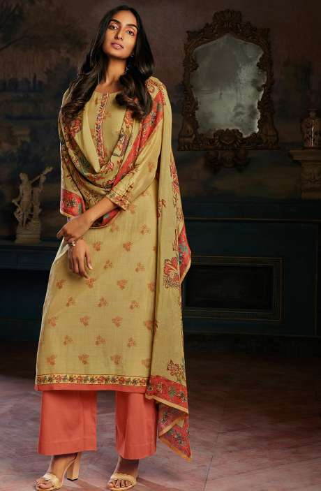 Modal Cotton Printed Stripes Unstitched Salwar Kameez In Mustard & Coral - ASAC0103