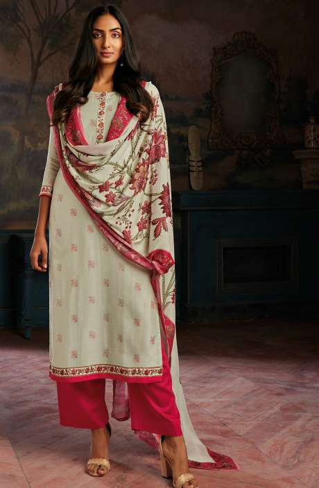 Modal Cotton Printed Stripes Unstitched Salwar Kameez In Cream & Rose Red - ASAC0105