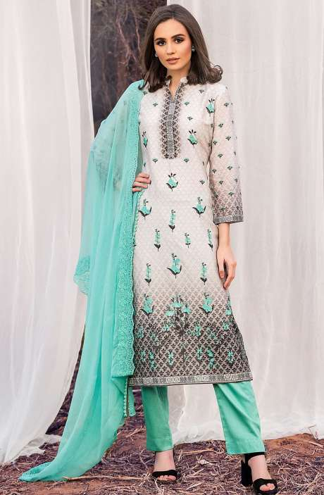 Chanderi Cotton Digital Printed Multi & Sea Green Suit Sets with Swarovski Work - ASH2500A
