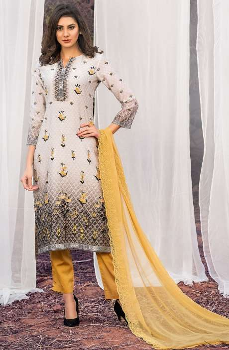 Chanderi Cotton Digital Printed Multi & Mustard Yellow Suit Sets with Swarovski Work - ASH2500B
